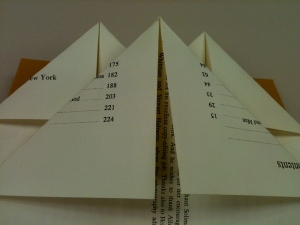 For the third page in this set of folded pages, fold each top corner in until they meet in the middle. Repeat steps until all pages are folded